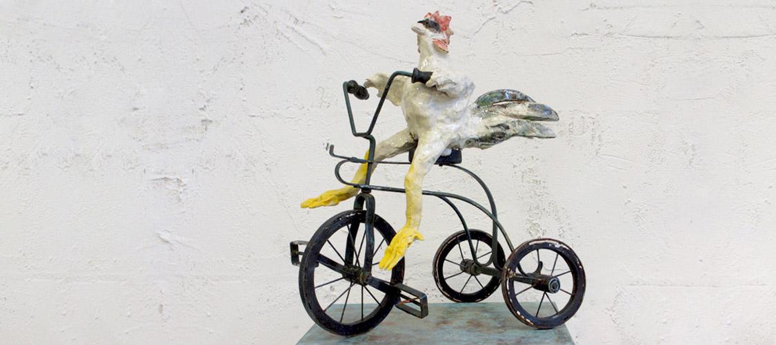 Elke Geide - Hahn auf Dreirad